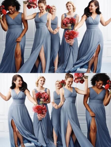 V_Neck_Split_Side_Long_Bridesmaid_Dresses_for_Wedding_Party
