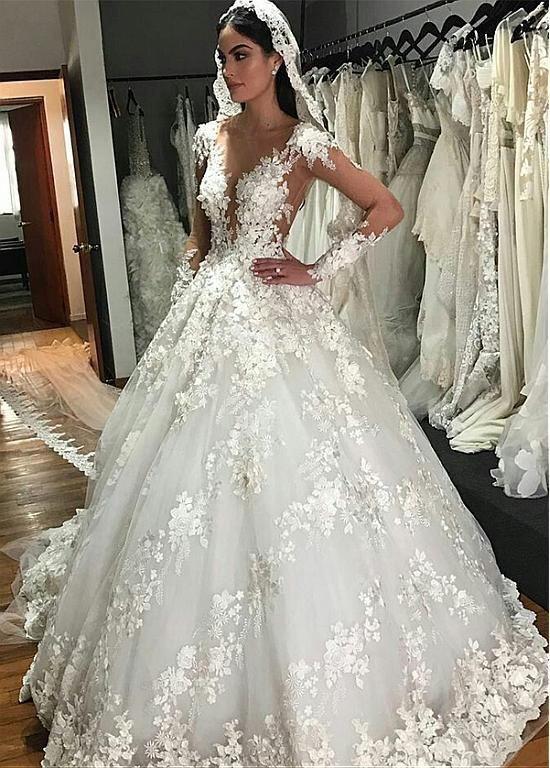 V_Neck_Long_Wedding_Dresses_with_Appliques_for_Bridal