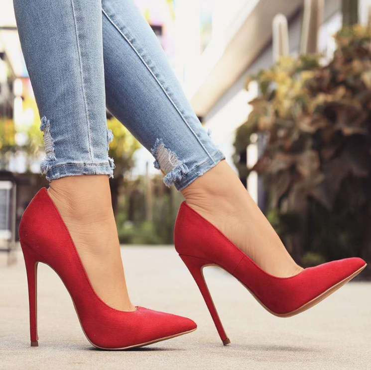 Red Pointy High Heels