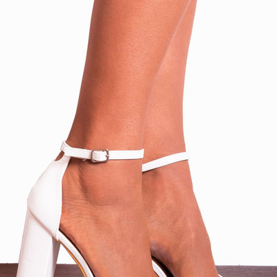 White high heel sandals with ankle strap g8722