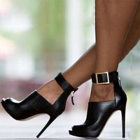 2020 New Black Fish Mouth High Heel Sandals - Thumbnail 3