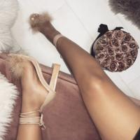 Black New Square Heel Furry High Heel Sandals Women's High Heel F6752 - Thumbnail 3