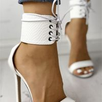 White Snake Textured Strappy Simple Sexy High-Heeled Sandals G6851 - Thumbnail 1