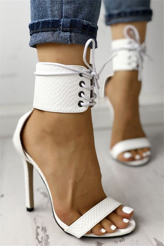 White Snake Textured Strappy Simple