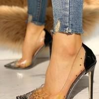 2020 Hot Rhinestone Embellished Transparent Thin Heels G6852 - Thumbnail 2