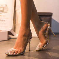 Pretty Pointed Toe Transparent High Heeled Crystal Heel Women's Shoes G6752 - Thumbnail 3