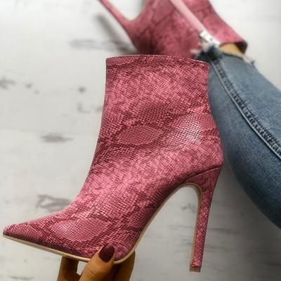 Women's boots european and american pointed-toe sexy stiletto snakeskin high-heeled boots f6875