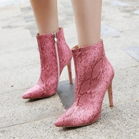 Women's Boots European and American Pointed-toe Sexy Stiletto Snakeskin High-heeled Boots F6875 - Thumbnail 3