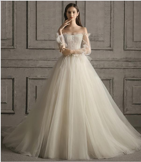 Custom Dresses Wedding Dress New Style Shoulder Bride Wedding Simple Super Fairy Fantasy French Retro Wedding Dress Sold By Custom Bridal Gowns On Storenvy