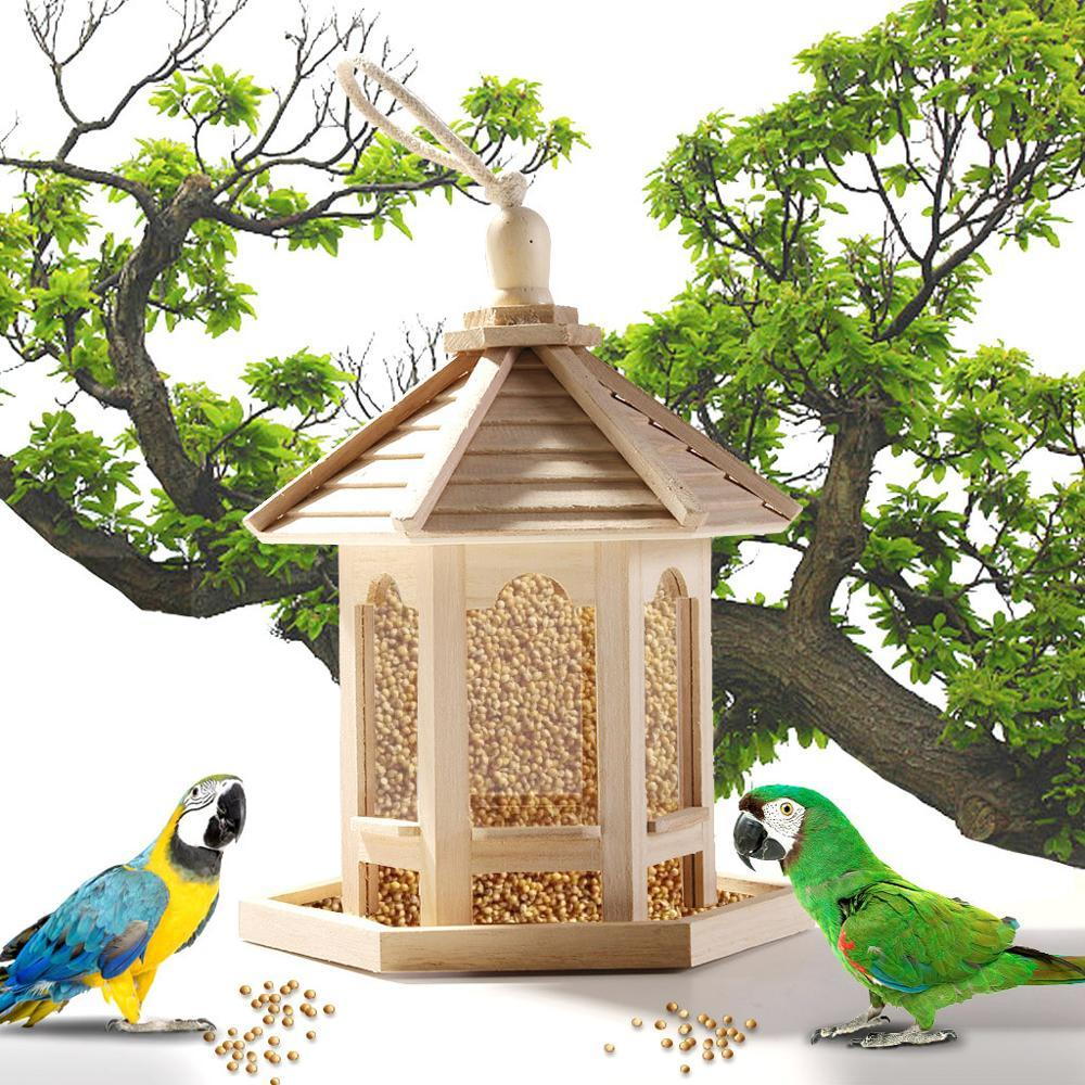 Wooden Bird Feeders Hanging Type Outdoor Pet Bird Seeds Food Feeder Tree Garden Snacks Bucket Holder Bird Feeder Feed Station (124384744) photo