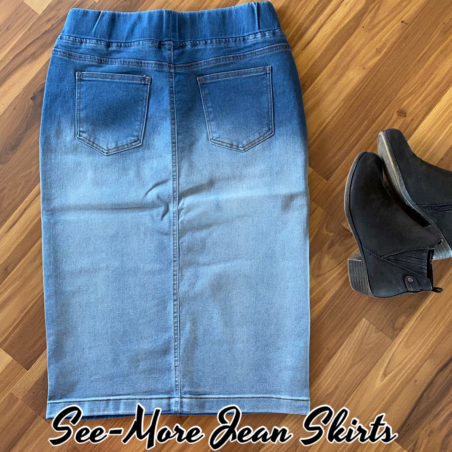 Classic Comfort Blue Blush Mid Length Denim Skirt See More Jean Skirts Online Store Powered By Storenvy