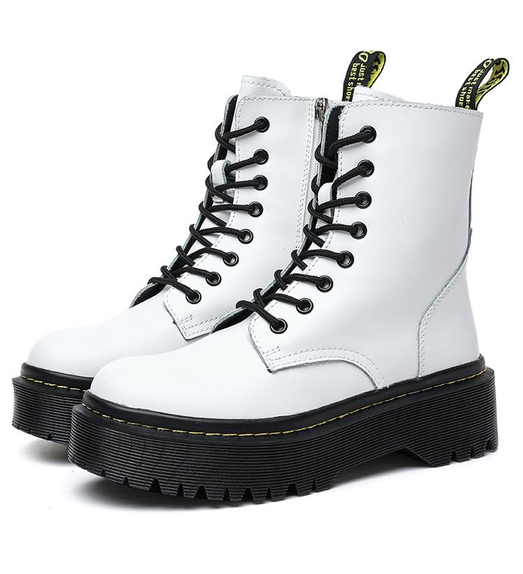 Chunky Platform Combat Boots (White