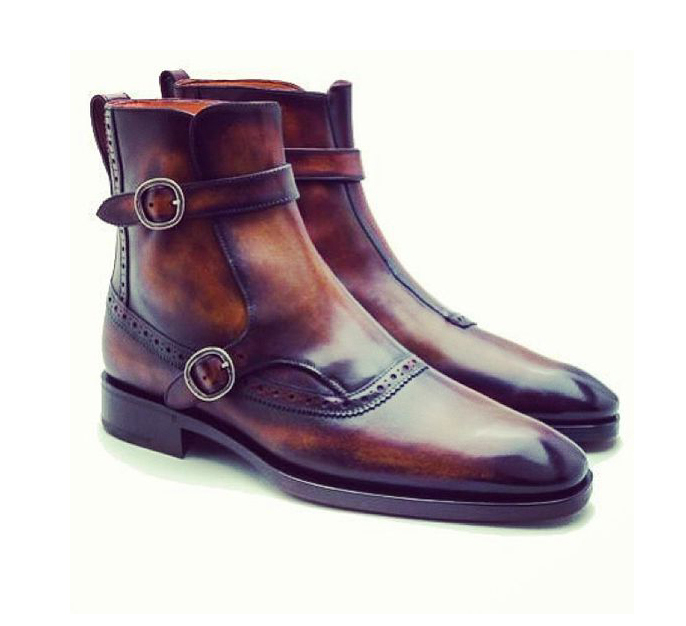 Bespoke Brown Double Buckle Ankle boots, Men Brown Ankle boots