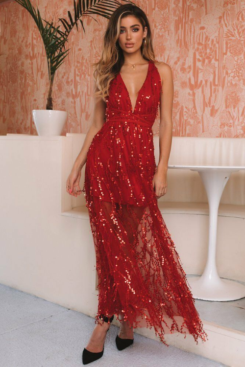 Sexy Red Sequined Cross Back Long Dress