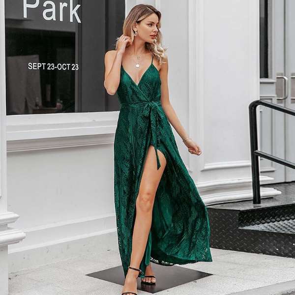 Sexy Green Lace Long Dress with Slit