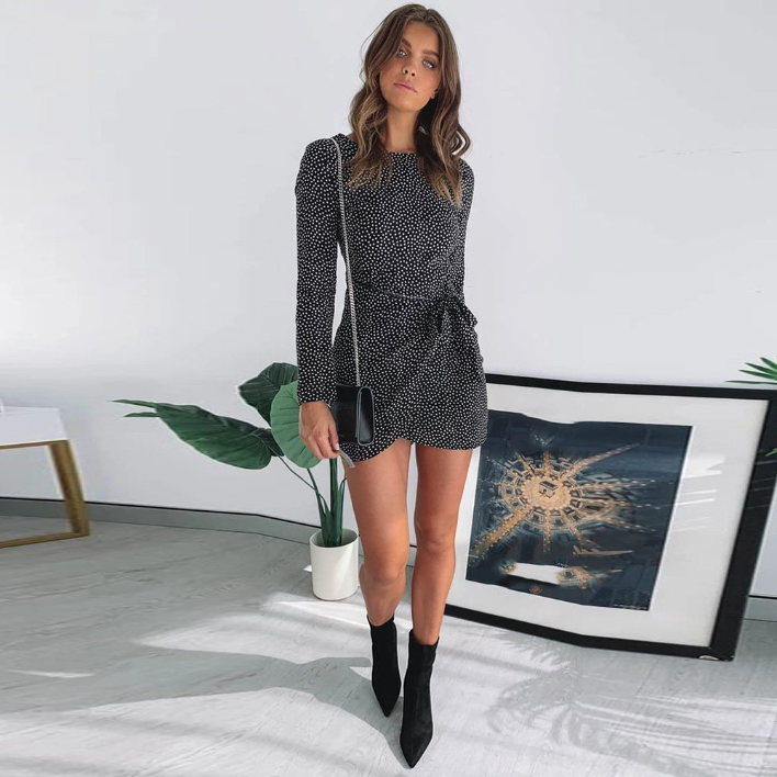 Sexy Long Sleeve Chiffon Mini Dress