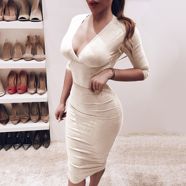 Sexy V Neck Knee Length Bodycon Dress