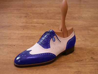 Oxford Blue White Wingtip Brogue Lace