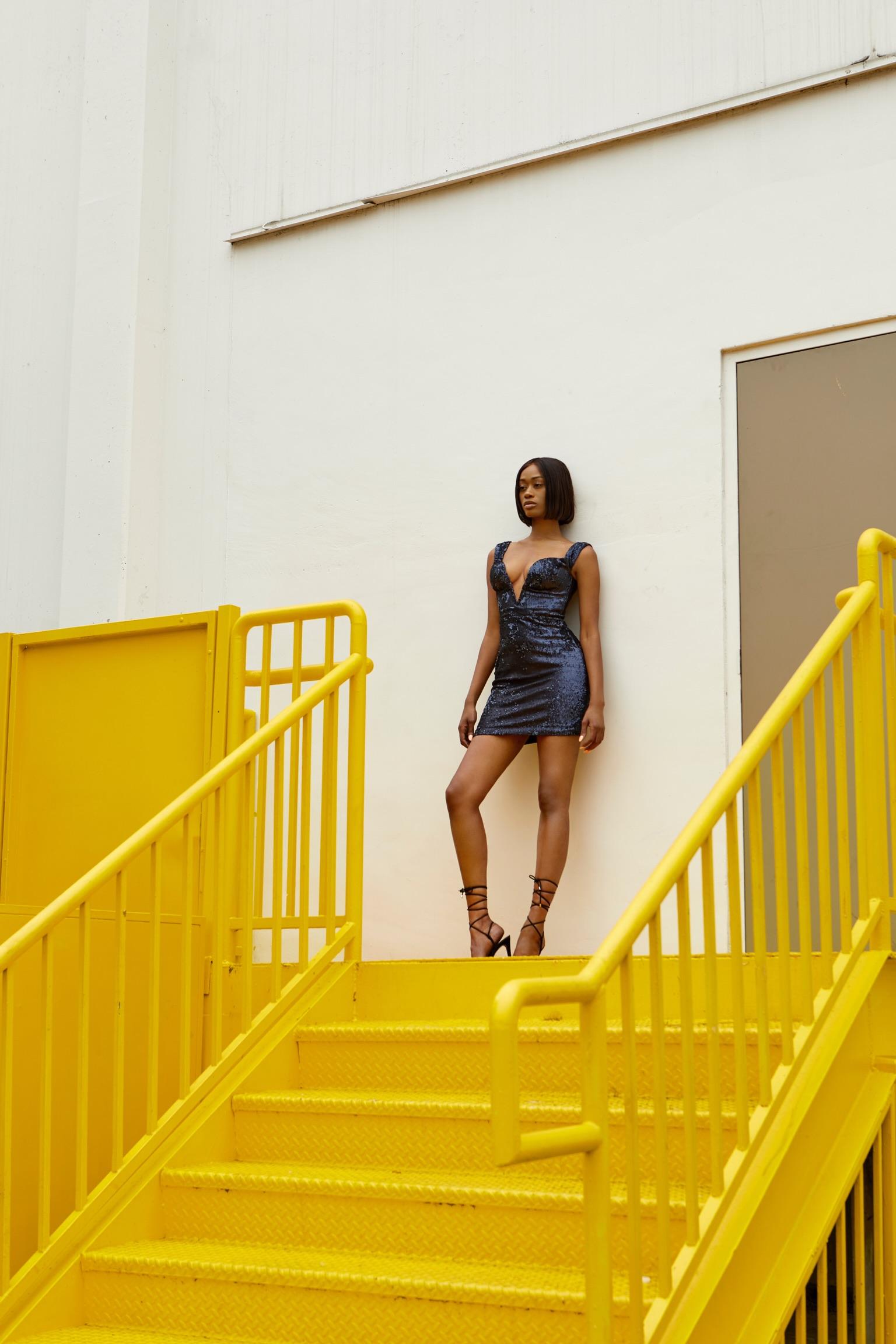 House of CB Blue Sequin Dress