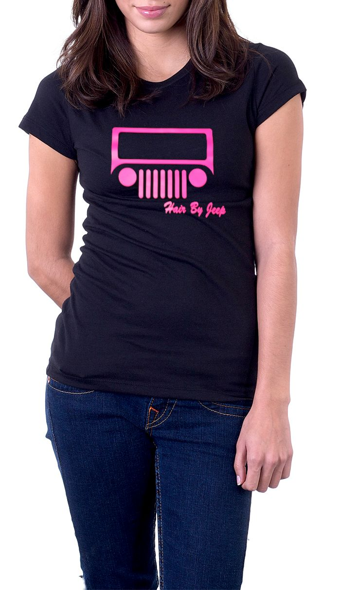 Storenvy coupon: Jeep - Hair by Jeep - Pink Print Women's Black T-Shirt