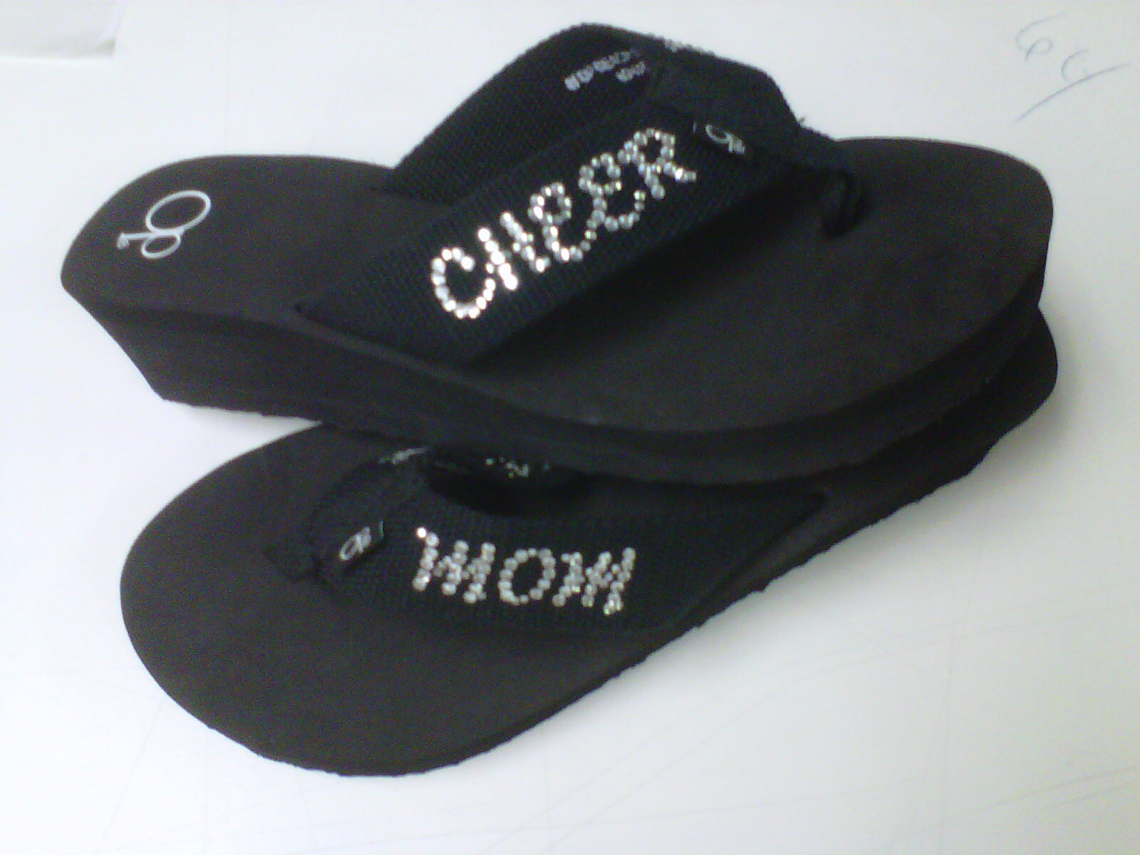 1e250d304 Rhinestone Cheer Mom Flip Flops · One Stop T-Shirts and More ...