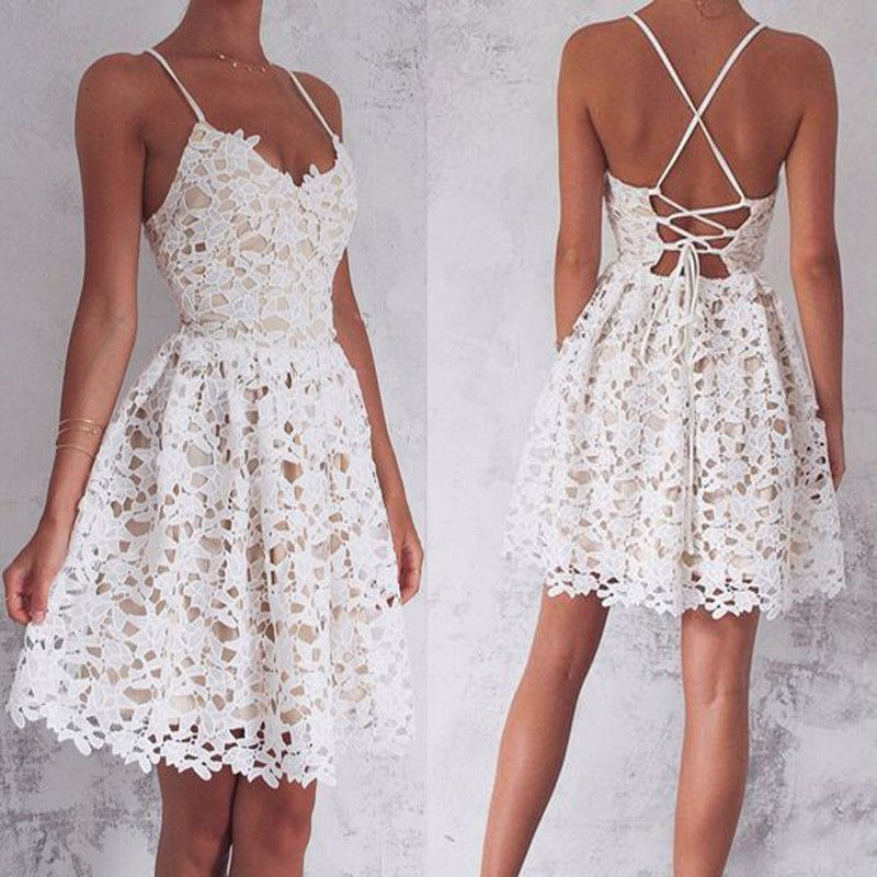 WD0210,A-Line Spaghetti Straps Homecoming Dress,Lace-Up Ivory Lace Short Homecoming Dress,Sleeveless Sweet 16 Cocktail Dress,Homecoming Dress