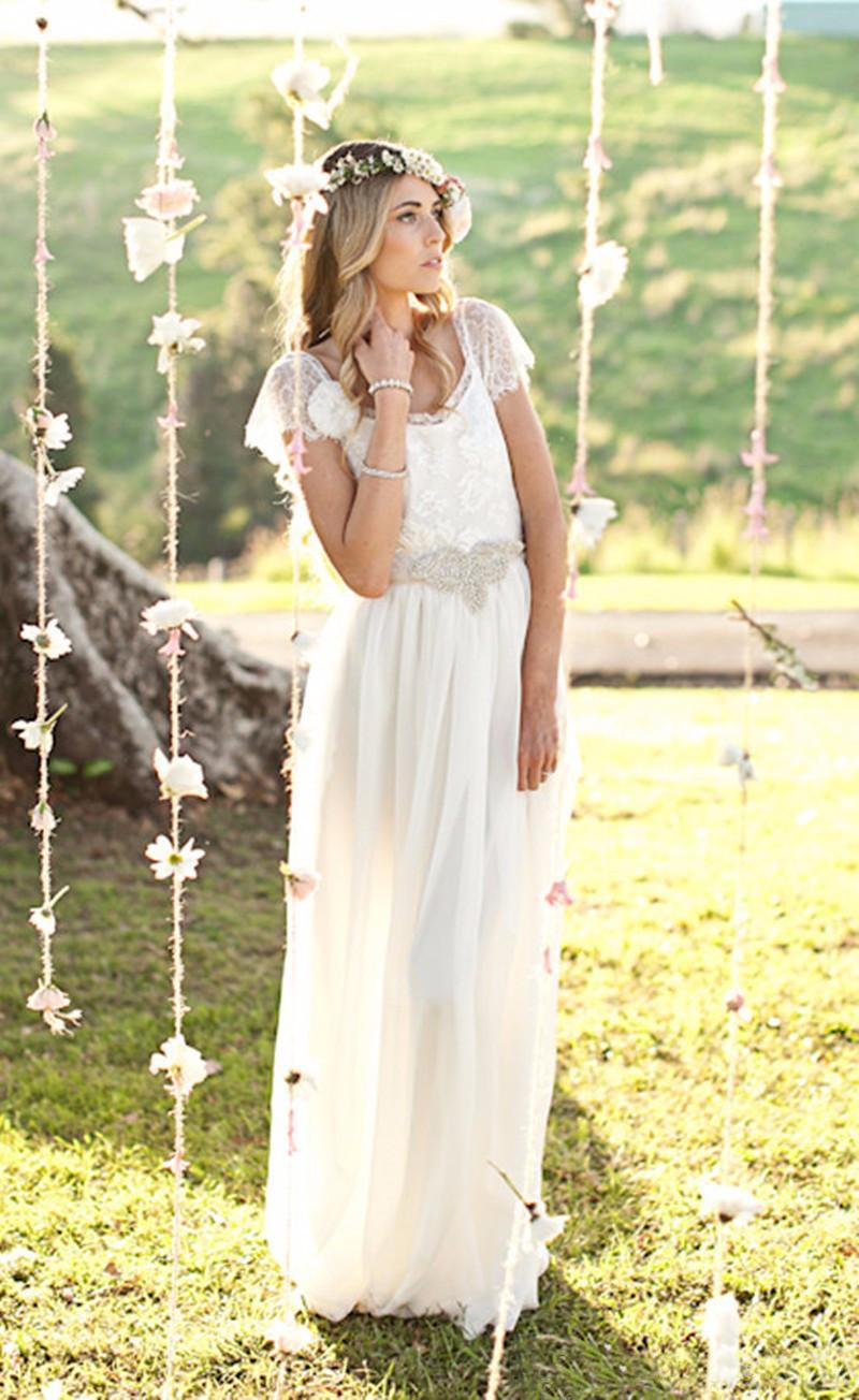 Wedding Dress Vestidos De Novia Para Playa 2020 Sexy Backless White Chiffon Long Wedding Dresses with Short Sleeves
