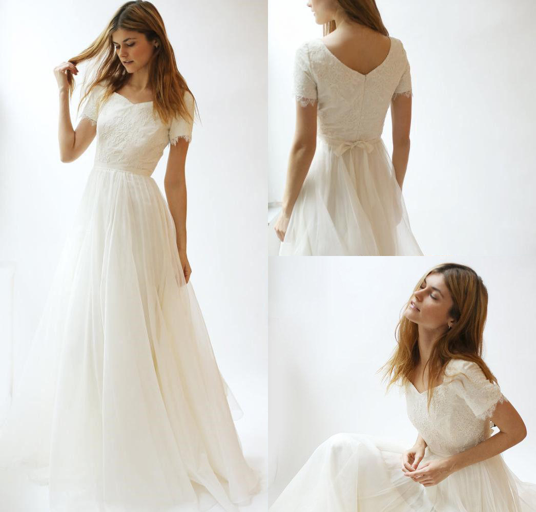 Nikebridalmodest Simple Beach Wedding Dresses 2020 A Line Lace Appliqued Bridal Gowns Short Sleeve Plus Size Wedding Dress Dailymail,Winter Dresses For Women Wedding