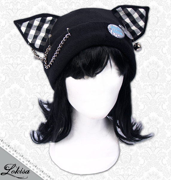 19beb524026 Cat Kitty Fleece Hat Anime Cosplay Punk JRock (Checkered Ears) on ...