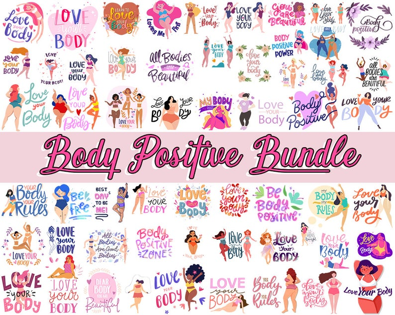 50 Cut File SVG,PNG  body positive lettering, body Girl, cute women body, love your body, beautiful body, sport body SVG