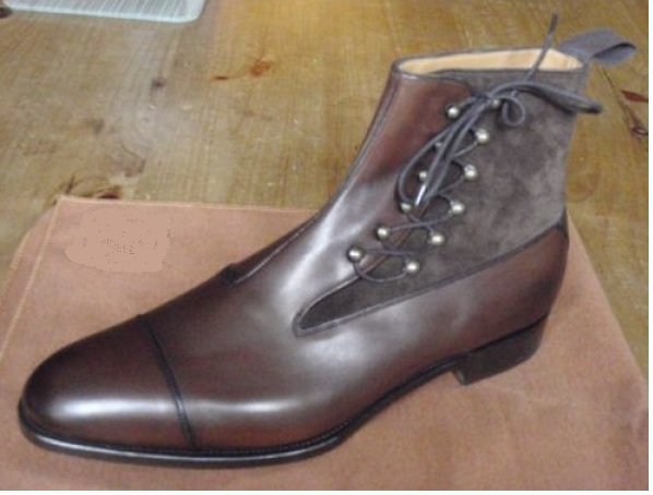 Handmade Men Brown Lace Up Ankle Boots, Men Fashion Cap Toe Ankle Boots