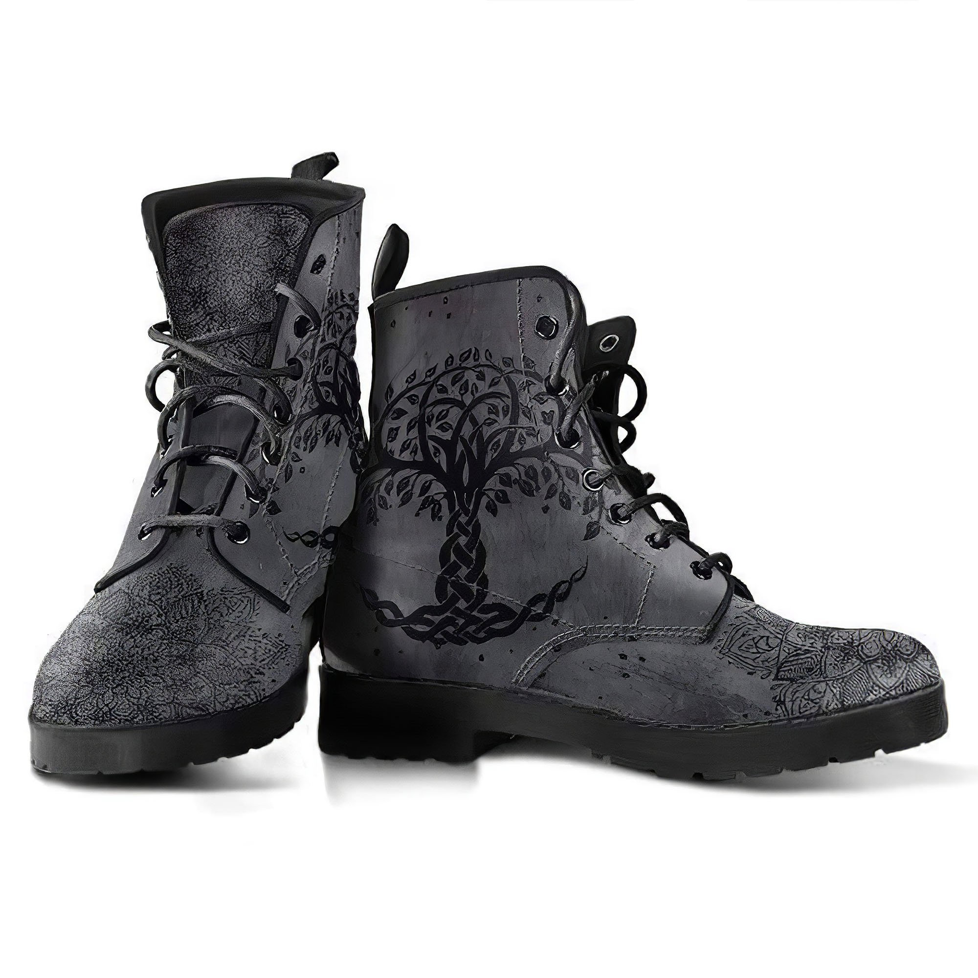 Grey Tree of Life, Handcrafted boots, Vegan Leather, ankle Boots women, Festival Boots, Bohemian Style, Hippie Boots, Hikers Boots women