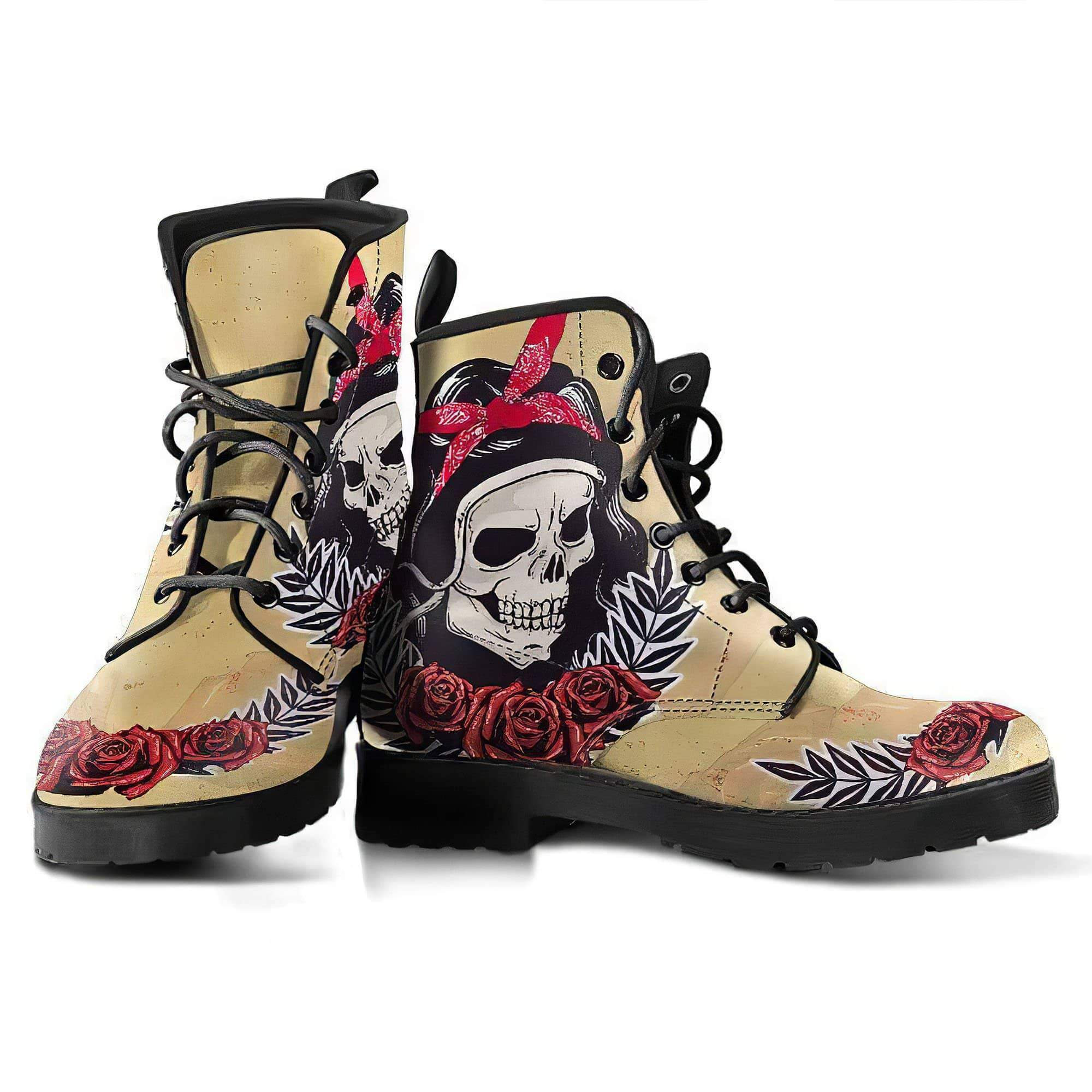 Skull and Roses, Gothic Hiking Boots, Women's Boots, Vegan Leather, Combat Style Boots, Emo Punk Boots, Goth Winter Boots