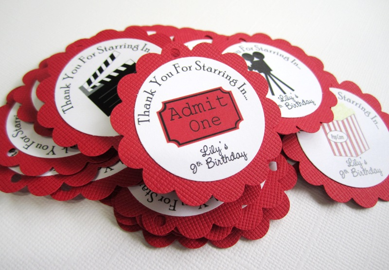 Movie Theater Party Favor Tags For Birthday And Baby Shower Adorebynat Online Store Powered By Storenvy