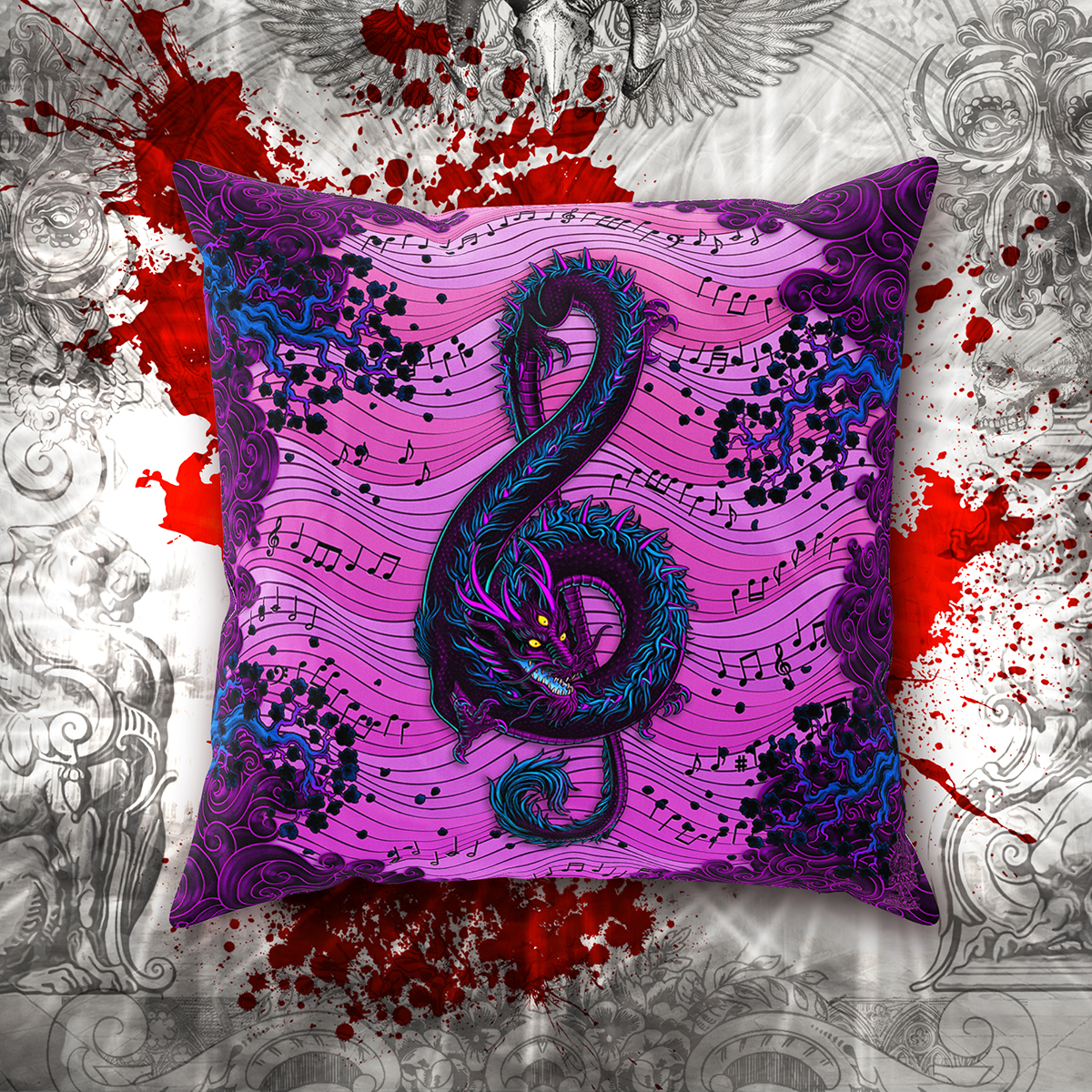 Pastel Goth Music Dragon Pillow Treble Clef Gothic Home Decor Throw Pillow Case On Storenvy Ibt Shop