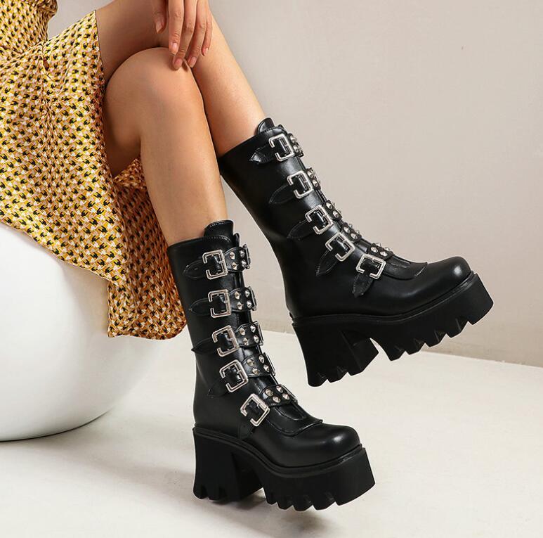 Moon Lotus Festival Leather Boot Women Winter Faux Fur Mandala Ankle Boots Hippie Vegan Leather Doc Marten Lace Up Boots