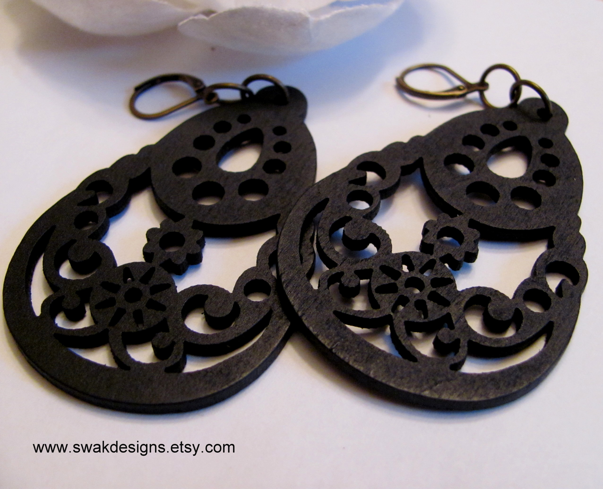Black Tribal Filigree Wood Earrings, Chandelier Bohemian style on ...