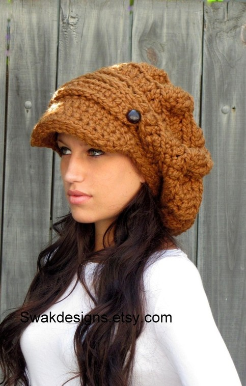 Slouchy Hat Womens Hat Two Button Band Newsboy Cap
