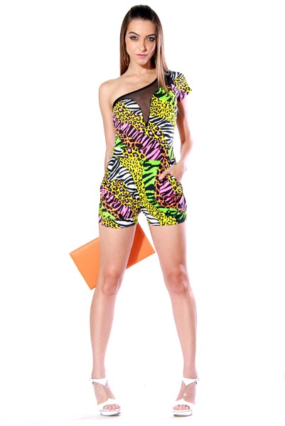 a9098199496 One Shoulder Neon Animal Print Romper   BAye Hive Boutique ...