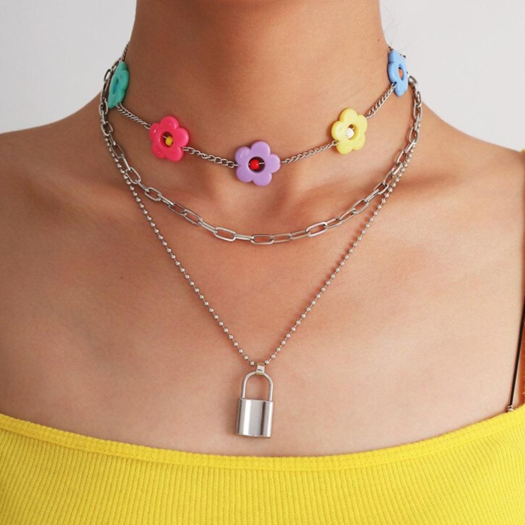 rainbow flower chokers! three styles