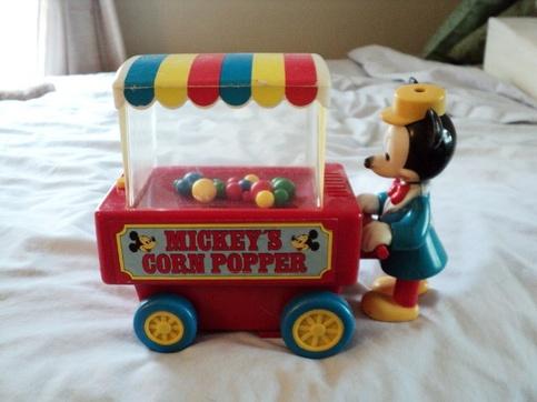 Vintage Disney Illco Mickey Mouse Vintage Corn Popper Push