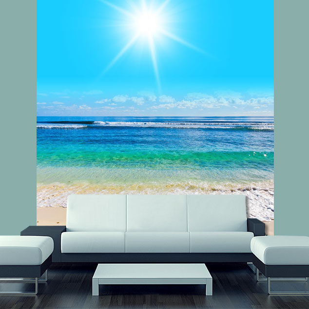 Wall sticker mural beach scene sea ocean water summer sun for Beach wall mural sticker