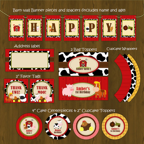 Barn Birthday Party Decorations Package DIY