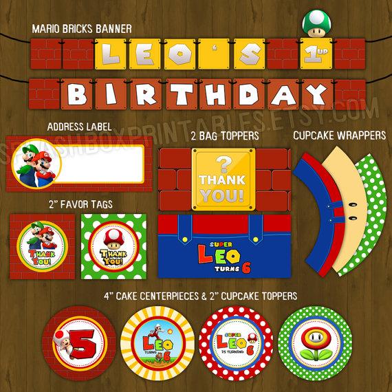 Super Mario Birthday Party Package Diy Splashbox Printables