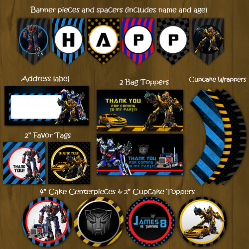 Transformers birthday party pack diy on storenvy 1original filmwisefo Images