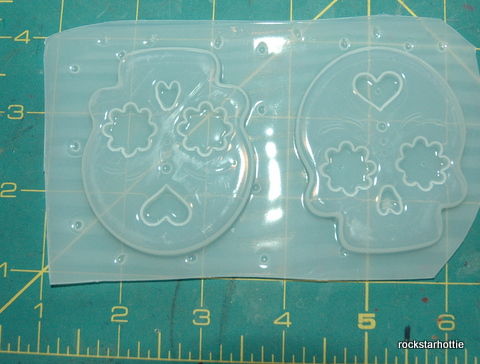 Image of 2 Day of the Dead Skulls - Flexible Plastic Resin Clay Plaster Soap Candle Mold