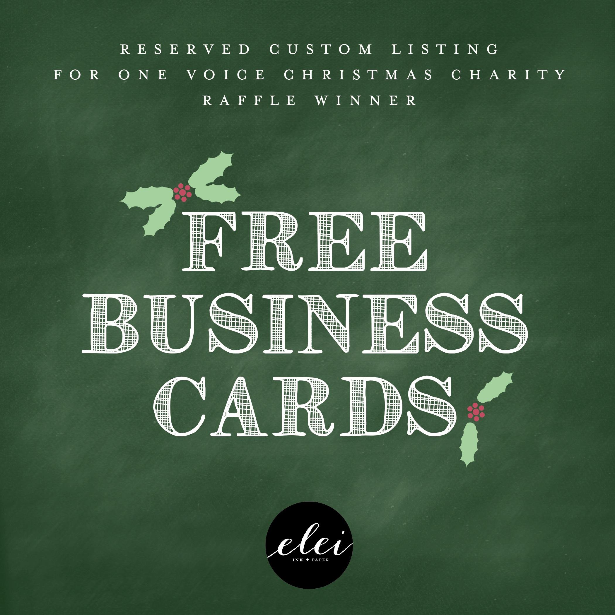 Custom Business Cards - Charity Raffle Winner · Elei Ink and